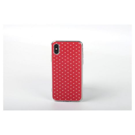 QILIVE Coque Trendy pour Apple iPhone X/XS - Rouge à coeurs roses