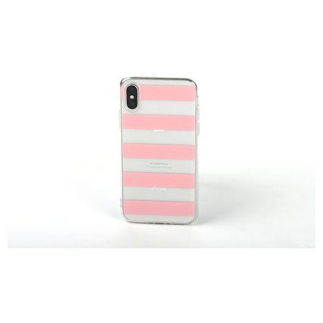 QILIVE Coque Trendy pour Samsung Galaxy A20e - Blanc à rayures roses