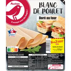 AUCHAN Tranches de blanc de poulet 6+2 offertes 240g