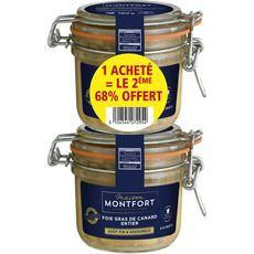 MONTFORT Foie gras de canard entier 2ème 68% offert 8-10 parts 2x180g