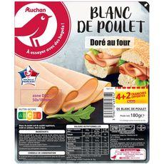 AUCHAN Auchan Blanc de poulet 4 tranches + 2 offertes 180g 4+2 tranches 180g