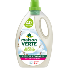 MAISON VERTE Lessive liquide écologique peaux sensibles fleur de coton 40 lavages 2,4l