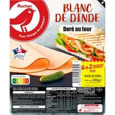 AUCHAN Blanc de dinde doré au four 6 tranches + 2 offertes 180g + 60g offert