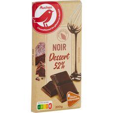 AUCHAN Tablette de chocolat noir pâtissier 52% de cacao Filière responsable 1 pièce 200g