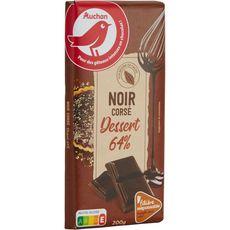 AUCHAN Tablette de chocolat noir pâtissier corsé 64% de cacao Filière responsable 1 pièce 200g