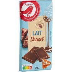 AUCHAN Tablette de chocolat au lait pâtissier filière responsable 1 pièce 170g