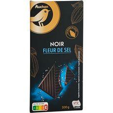 AUCHAN GOURMET Tablette de chocolat noir dégustation à la fleur de sel 47% 1 pièce 100g