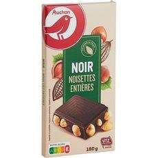 AUCHAN Tablette de chocolat noir aux noisettes entières 1 pièce 180g