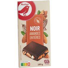 Auchan Tablette de chocolat noir aux amandes entières 180g
