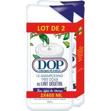 DOP Shampoing très doux au lait végétal tous types de cheveux Lot de 2 2x400ml