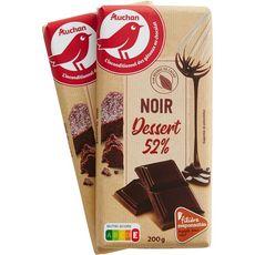 AUCHAN Tablette de chocolat noir pâtissier 52% de cacao Filière responsable 2 pièces 2x200g