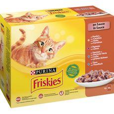 FRISKIES Sachets repas pâtée en sauce poissons et viandes pour chat 12x85g