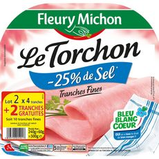 Fleury Michon jambon au torchon 2x4 tranches + 1offert