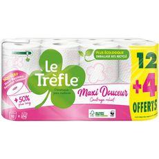LE TREFLE Papier toilette blanc maxi douceur 12 rouleaux + 4 offerts