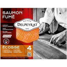 DELPEYRAT Saumon fumé d'Ecosse 4 tranches 130g