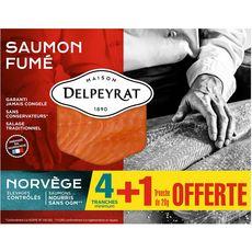 Delpeyrat saumon fumé de Norvège tranche x5 -160g dont 1 gt