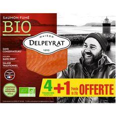 Delpeyrat Saumon fumé bio tranches x4 + 1 offerte 140g