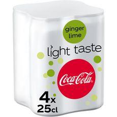 Coca cola Boisson gazeuse aux extraits végétaux light saveur ginger 4x25cl