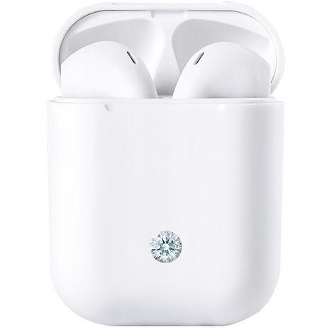 EDREAM Écouteurs sans fil Bluetooth avec étui de charge - Blanc - Beauty Diamond