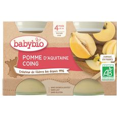 Babybio pomme coing bio pot 2x130g dès 4mois