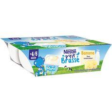 Nestlé P'tit brassé petit pot dessert lacté à la banane dès 4 mois 6x60g