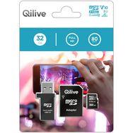 QILIVE Carte mémoire MicroSDHC V10 32 Go + Adaptateur MicroSD + clé USB 2.0