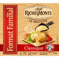 Riches Monts fromage à raclette classique 32 tranches 850g