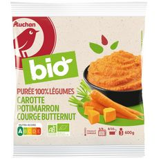 AUCHAN BIO Purée de carotte et potiron 3 portions 600g