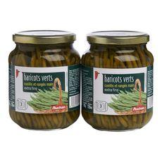 AUCHAN Haricots verts extra fins cueillis et rangés main 2x345g