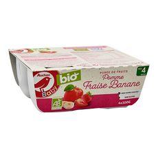 AUCHAN BABY BIO Petit pot dessert pomme fraise banane bio dès 4 mois 4x100g
