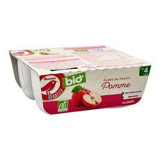 AUCHAN BABY BIO Petit pot dessert pomme dès 4 mois 4x100g