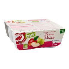 AUCHAN BABY BIO Petit pot dessert pomme poire dès 4 mois 4x100g