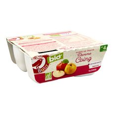 AUCHAN BABY BIO Petit pot dessert pomme banane coing dès 4 mois 4x100g