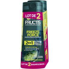 GARNIER Fructis Shampoing Freeze Force homme cheveux normaux à gras 2x250ml