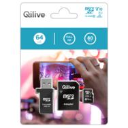 QILIVE Carte mémoire MicroSDXC  V10 64 Go + Adaptateur MicroSD + Clé USB 2.0