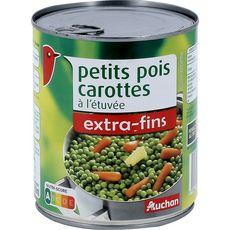 AUCHAN Petits pois carottes à l'étuvée extra-fins 530g