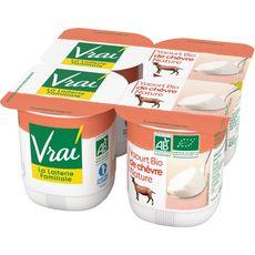 VRAI Yaourt lait de chèvre nature bio 4x120g