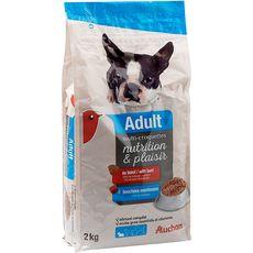 AUCHAN Adult multicroquettes moelleuses au boeuf pour chien 2kg
