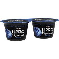 HIPRO Yaourt protéiné 0% MG saveur myrtille 2x160g