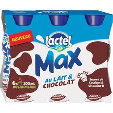 Lactel Max Boisson lactée sucrée aromatisée chocolat 6x20cl