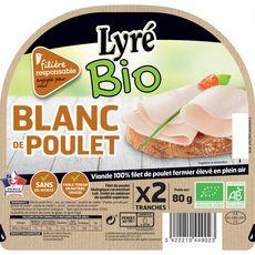 LYRE Blanc de poulet sans nitrite 2 tranches 80g