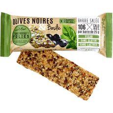 MES PETITES FOLIES Mes Petites Folies barre salée olives noires et basilic sans gluten 2x25g 2x25g 50g