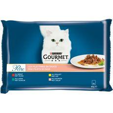 GOURMET Perle sachets repas pâtée en sauce viandes poissons pour chat 4x85g