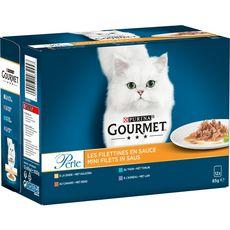 GOURMET Perle sachets repas pâtée en sauce viandes poisson pour chat 12x85g