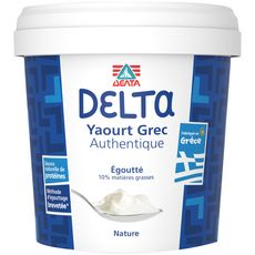 DELTA Yaourt grec authentique égoutté nature 10%mg 1kg