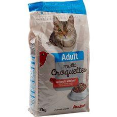 AUCHAN Adult multicroquettes au boeuf pour chat 2kg