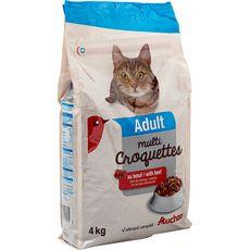 AUCHAN Adult multicroquettes au boeuf pour chat 4kg