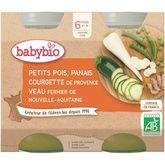 Babybio Babybio Petit pot petit pois panais courgette et veau dès 6 mois 2x200g