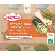 Babybio Petit pot petit pois panais courgette et veau  dès 6 mois 2x200g