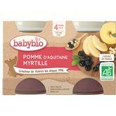 Babybio Babybio Petit pot dessert pomme myrtille dès 4 mois 2x130g